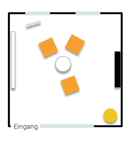 Stellplan Augenblick - Sitzmöbel für ein Coaching oder Kleingruppenarbeit bis vier Personen