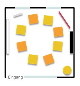 Stellplan Augenblick - Stuhlkreis für Kleingruppen oder Workshops bis acht Personen