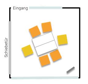 Stellplan Lounge - Kleingruppe an Doppeltisch für sechs Personen im Seminarzentrum ZEITRAUM
