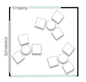Stellplan Lounge - Stehtische zum Mittagessen oder für Pausen, bis 12 Personen, Eventlocation ZEITRAUM
