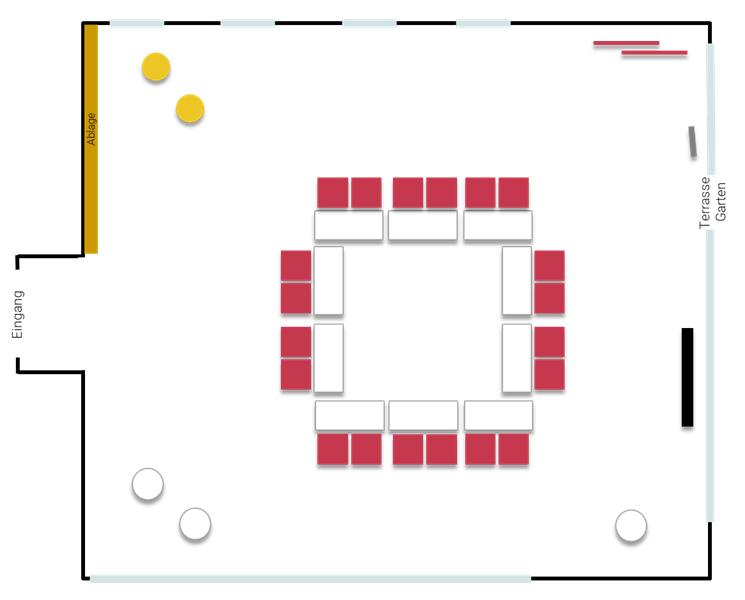 Stellplan Momentum - Konferenz mit Tischen im Viereck, großer Raum im Tagungszentrum ZEITRAUM