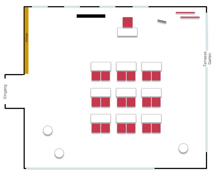 Stellplan Momentum - Parlament mit Zweiertischen und Rednerpult, großer Seminarraum im ZEITRAUM