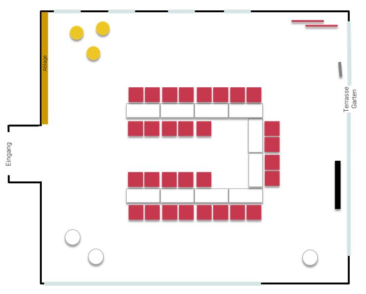 Stellplan Momentum - U-förmig Tische mit Stühlen, im Tagungszentrum ZEITRAUM